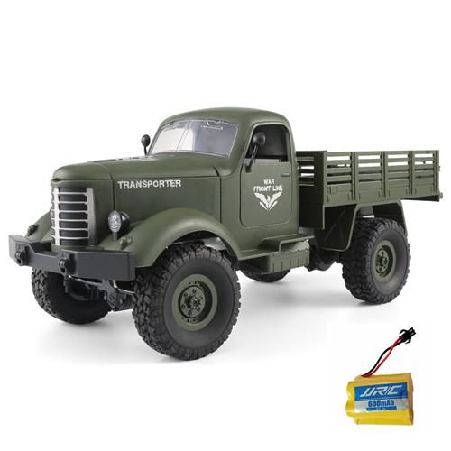 JJRC Q61 Transporter RC Car 2.4G 1:16 4WD Brushed Off-road Military Truck RTR Army Green + Extra Battery