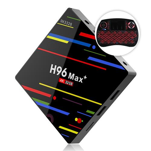 Bundle H96 MAX+ RK3328 Android 8.1 4GB/32GB KODI 17.6 4K TV BOX + iPazzPort Backlit Wireless Keyboard