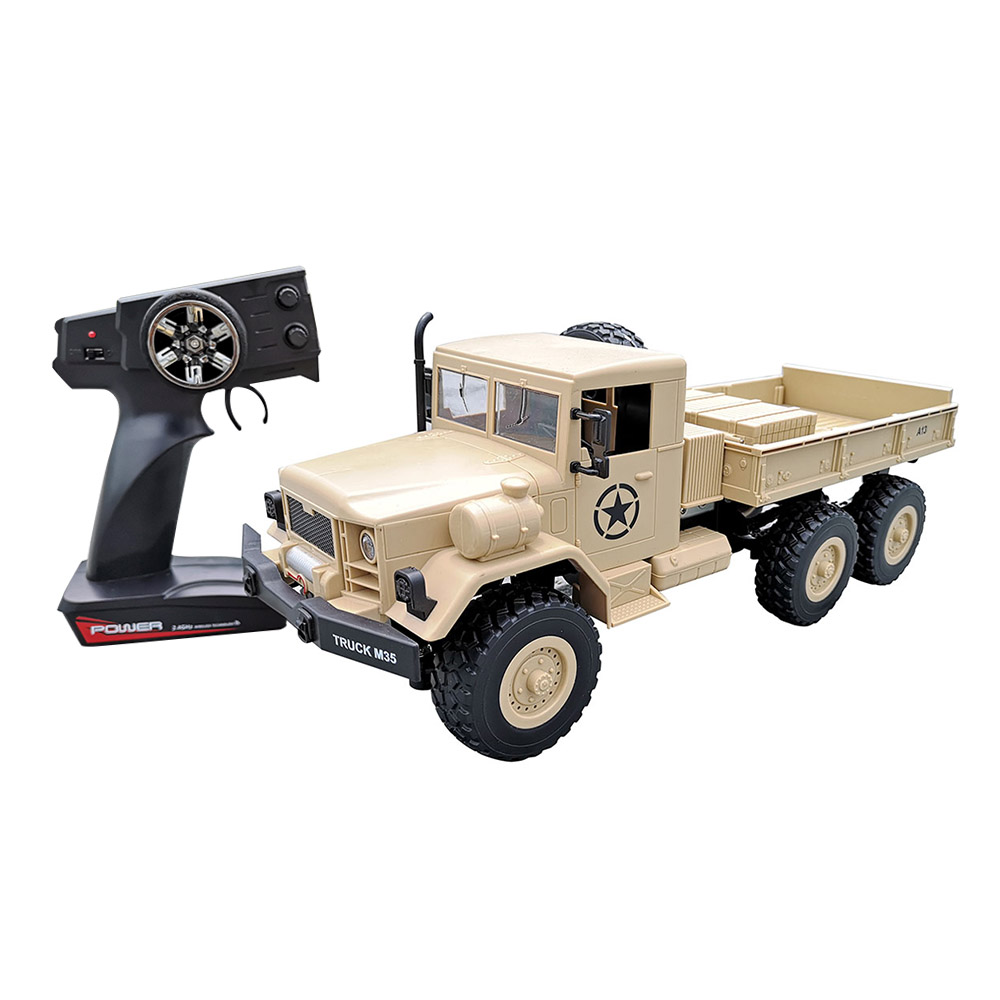 MZ YY2003 RC Car 2.4G 1: 12 6WD Spazzolato Off-road Military Truck RTR - Cachi