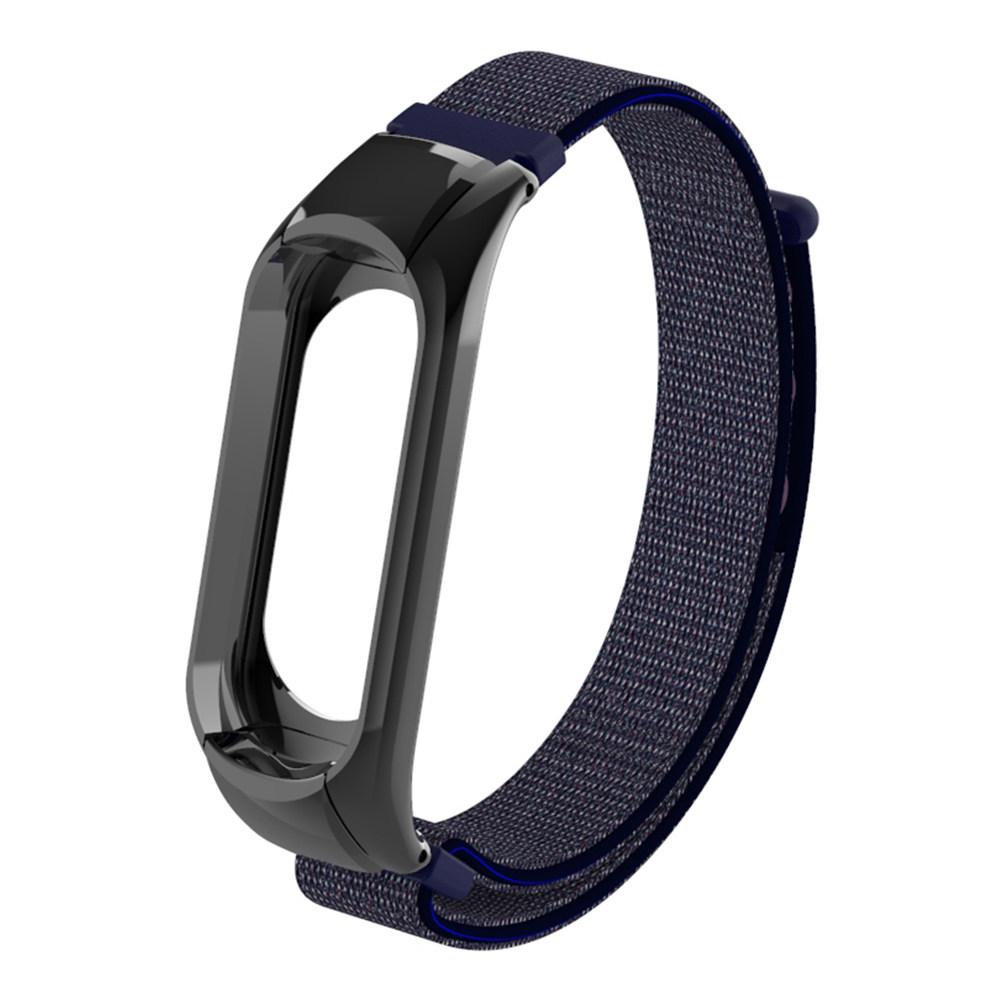 Replaceable Canvas Wrist Strap For Xiaomi Mi Band 3 Smart Bracelet - Dark Blue фото