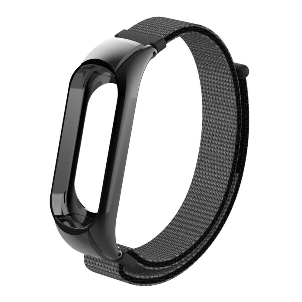 Austauschbare Leinwand Handschlaufe für Xiaomi Mi Band 3 Smart Armband - Grau Schwarz