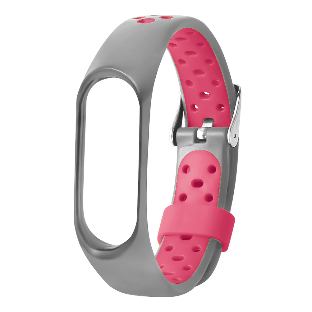 Replaceable Silicone Wrist Strap For Xiaomi Mi Band 3 Smart Bracelet - Gray + Pink фото