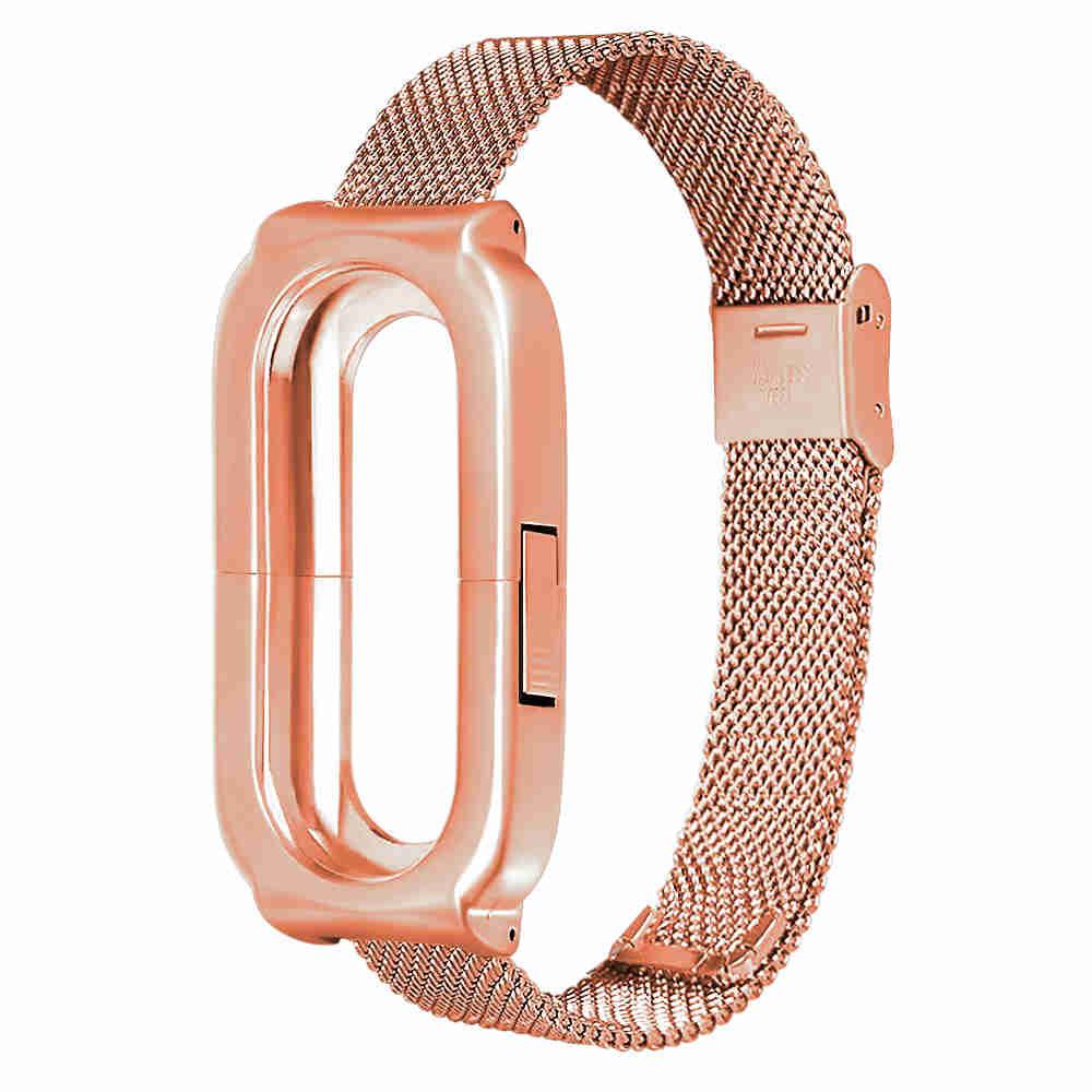 Replaceable Steel Wrist Strap For Xiaomi Mi Band 3 Smart Bracelet - Gold фото