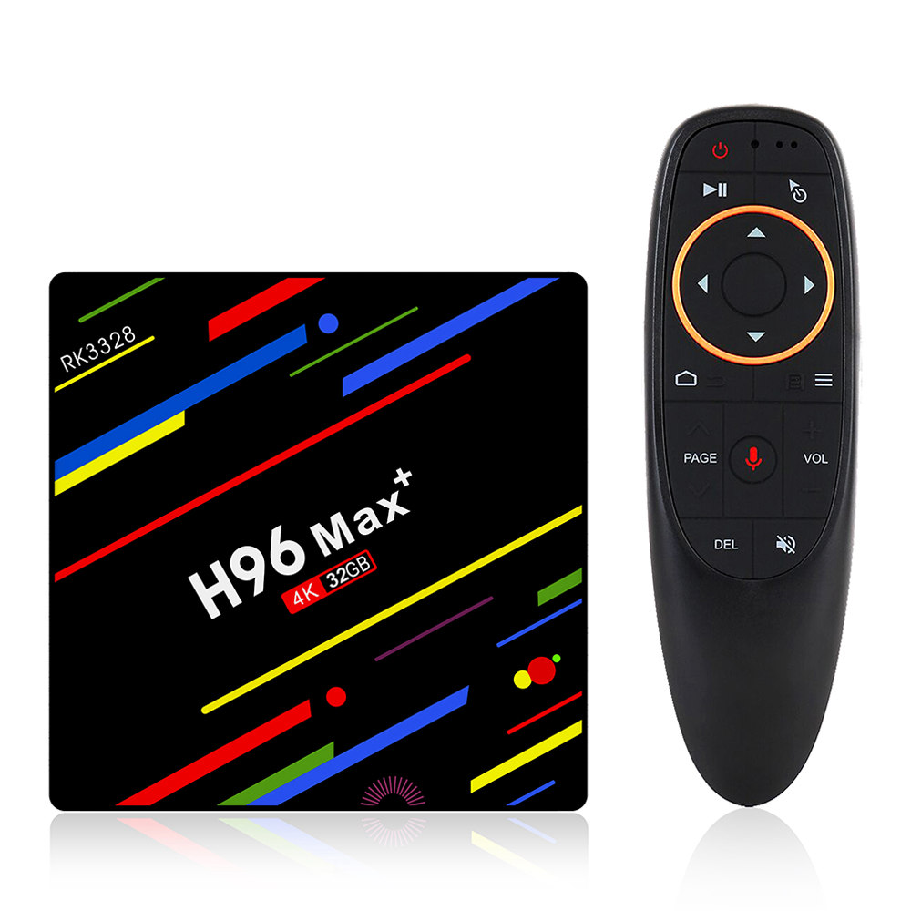 H96 MAX + Android 8.1 RK3328 KODI 17.6 4GB / 32GB 4K TVボイスリモコン付きWiFi LAN USB3.0