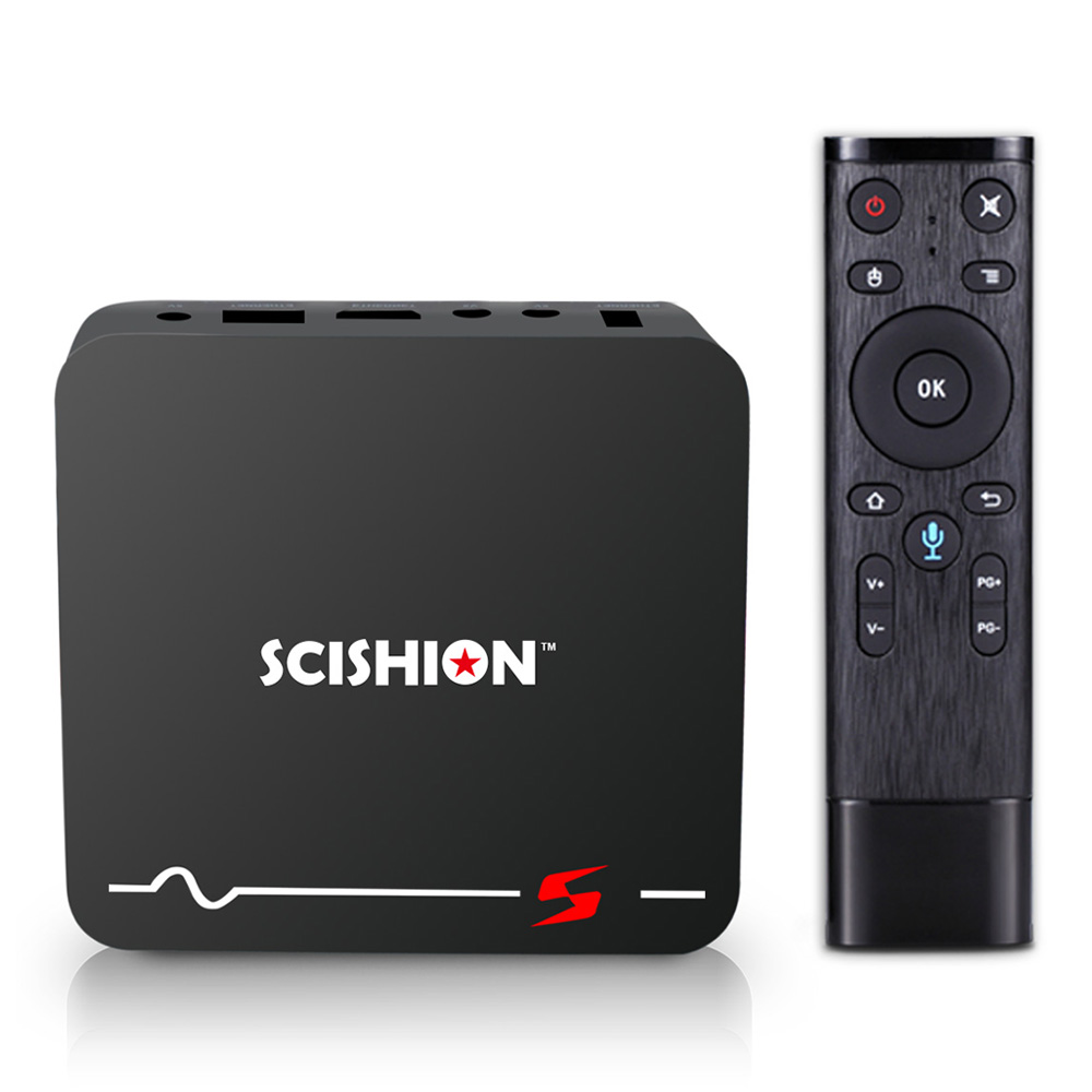 SCISHION Model S RK3229 Android 8.1 2GB/16GB 4K TV Box with Voice Remote Support YouTube Netflix WiFi LAN H.265 Decoding