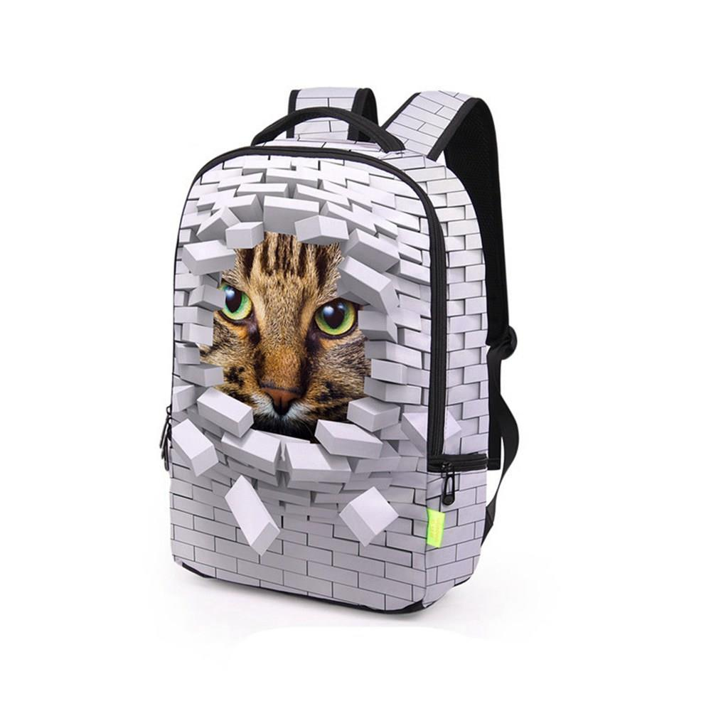 3D Creative Printed Wall Cat Pattern Men And Women Rucksack Travel Satchel Backpack - White