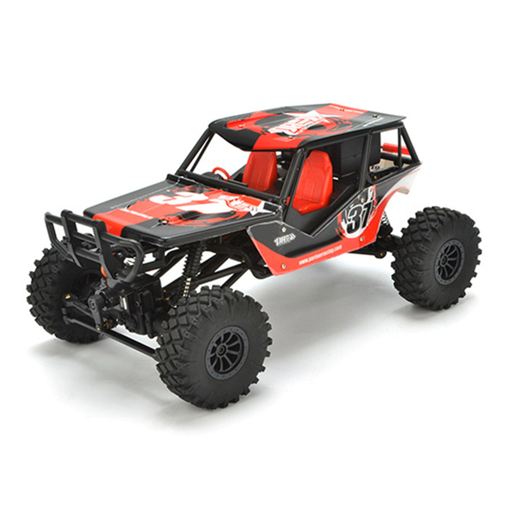 PRC QX-4 2.4G 1: 18 4WD Spazzolato RC Climbing Car con display LCD Engine Sound Simulation System RTR - Rosso
