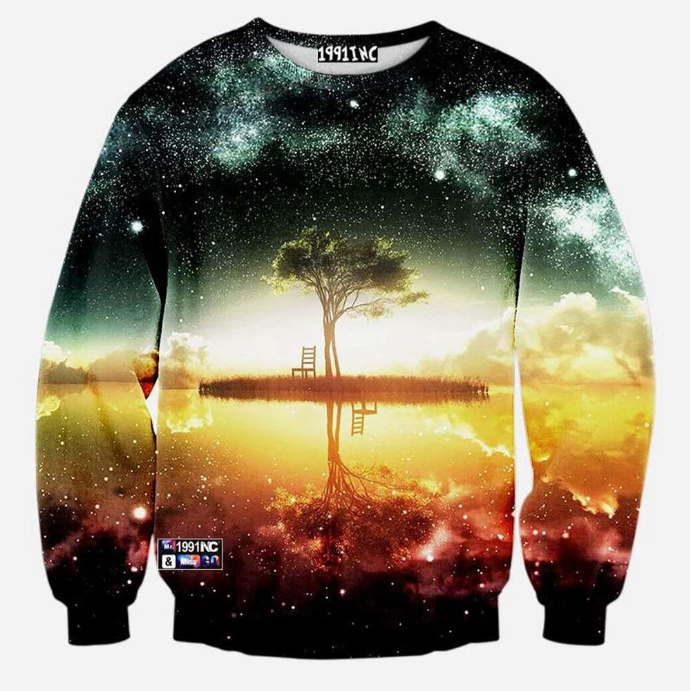 3D Digital Printed Starry Tree Pattern Men And Women Cotton Crewneck Sweatshirt Size S - Multi Color