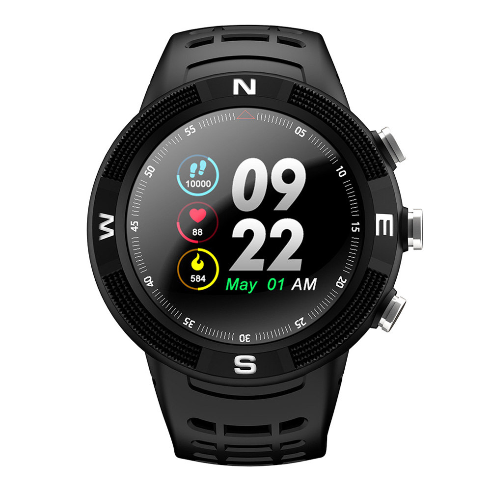 NO.1 F18 Sports Smartwatch 1.3 Inch TFT Touch Screen Bluetooth 4.2 IP68 Built-in GPS Heart Rate Monitor Call Message Reminder - Black