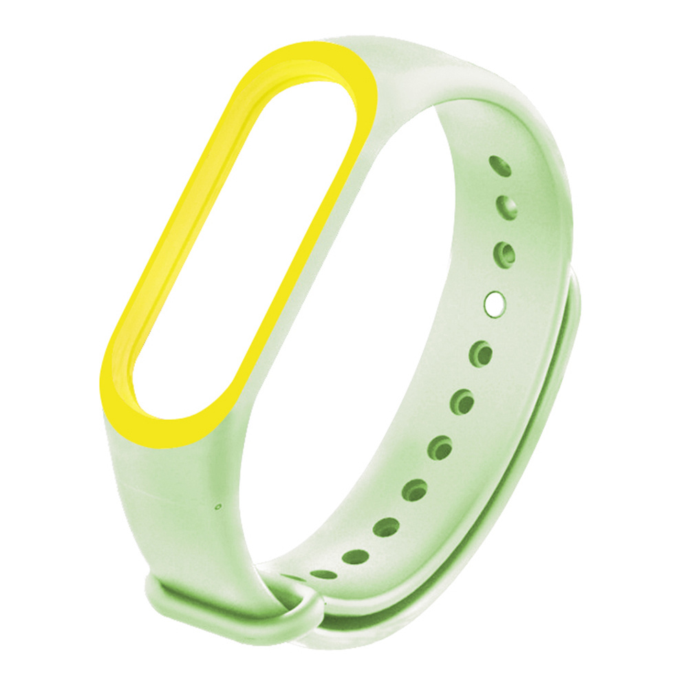 Replaceable Luminous Silicone Wrist Strap For Xiaomi Mi Band 3 Smart Bracelet - Yellow + Green