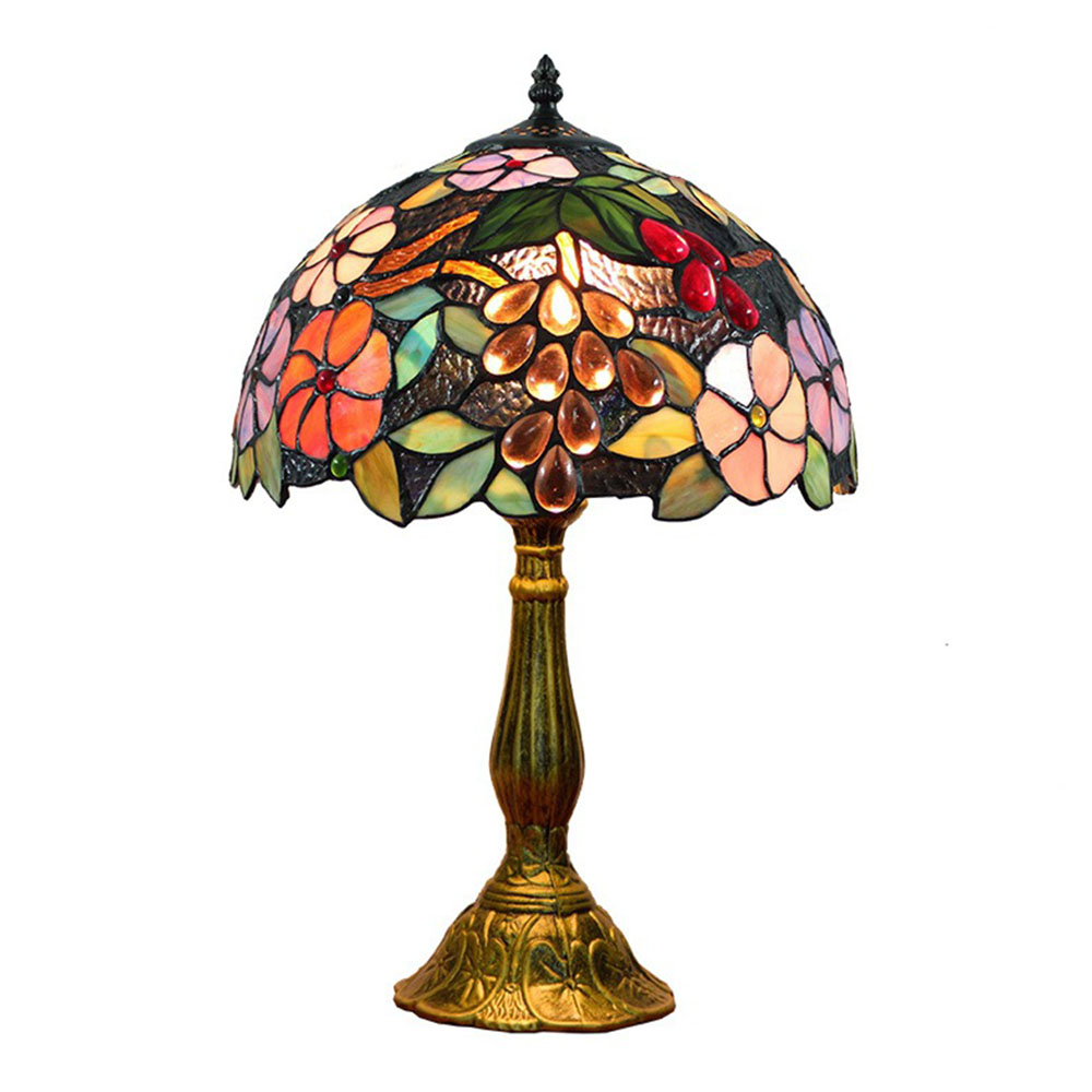 Fumat Tiffany Lamp European Clic Stained Gl Grape Table Desk For Bedside Lights Multi Color