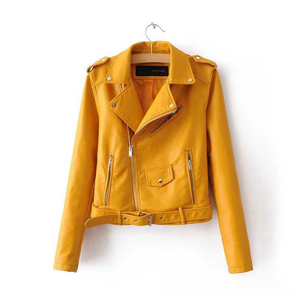 Women Autumn Casual PU Leather Short Coat Biker Jacket With Diagonal Zipper Size XL - Yellow