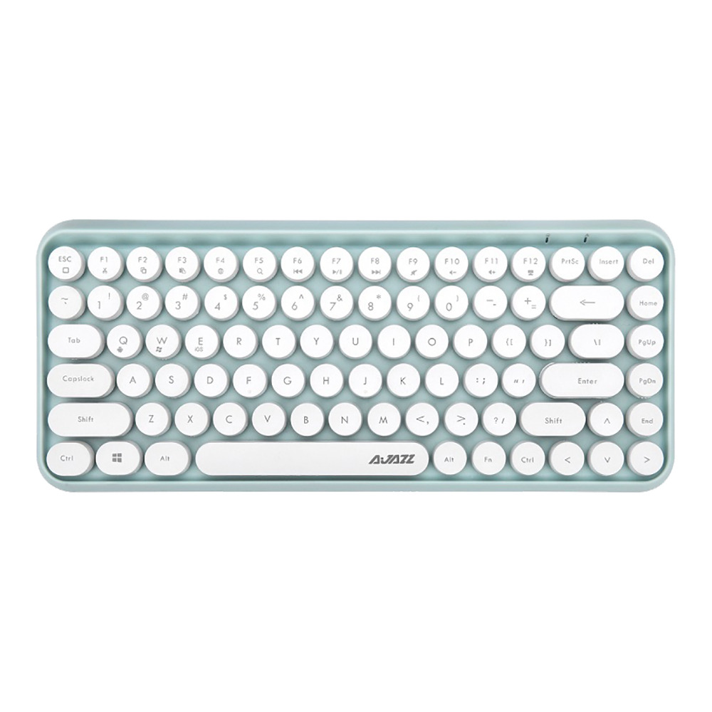 Ajazz 308i Bluetooth 3.0 Wireless Keyboard 84 Classic Round Keys Support Windows/iOS/Android And Other Common Systems - Green фото