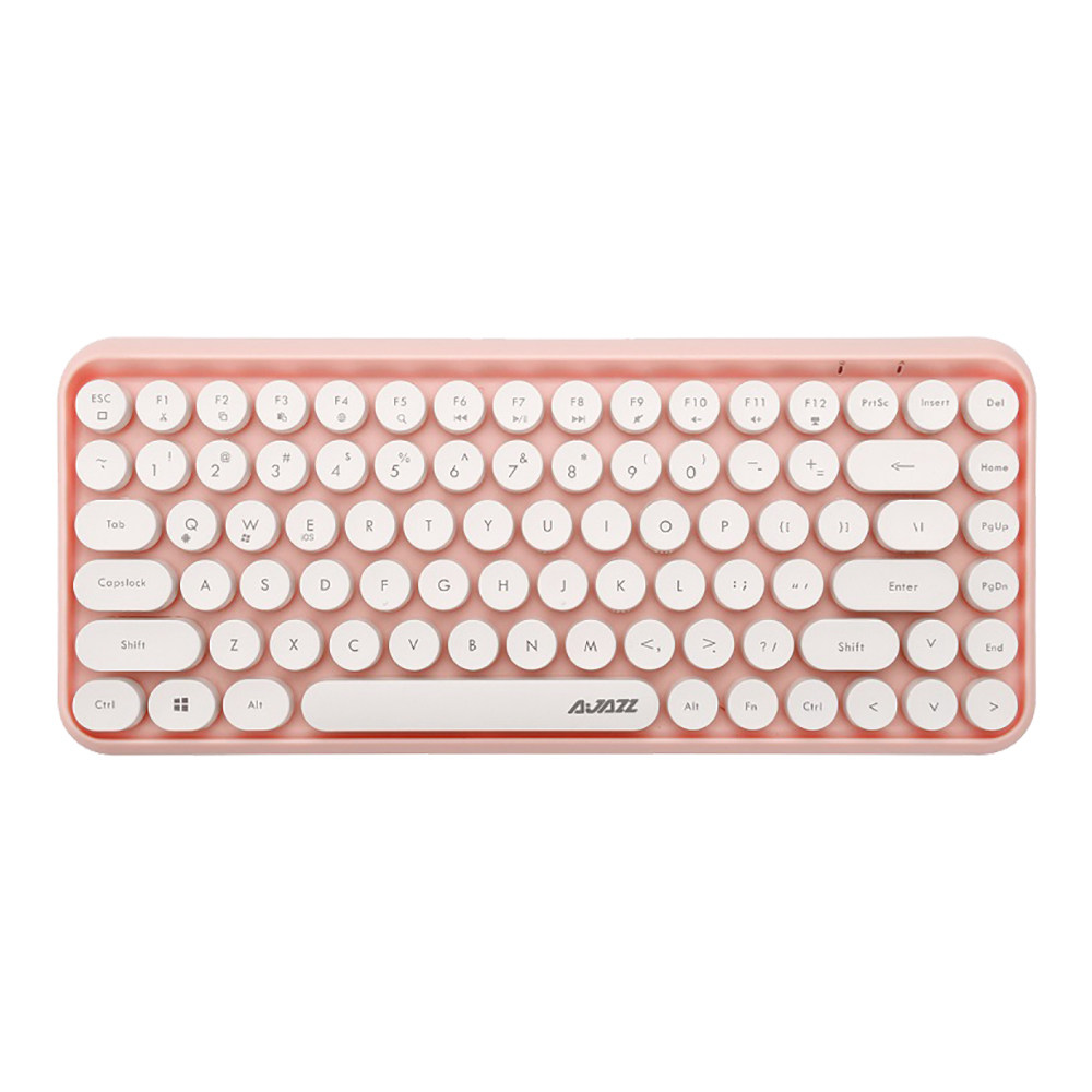 Ajazz 308i Bluetooth 3.0 Wireless Keyboard 84 Classic Round Keys Support Windows/iOS/Android And Other Common Systems - Pink фото