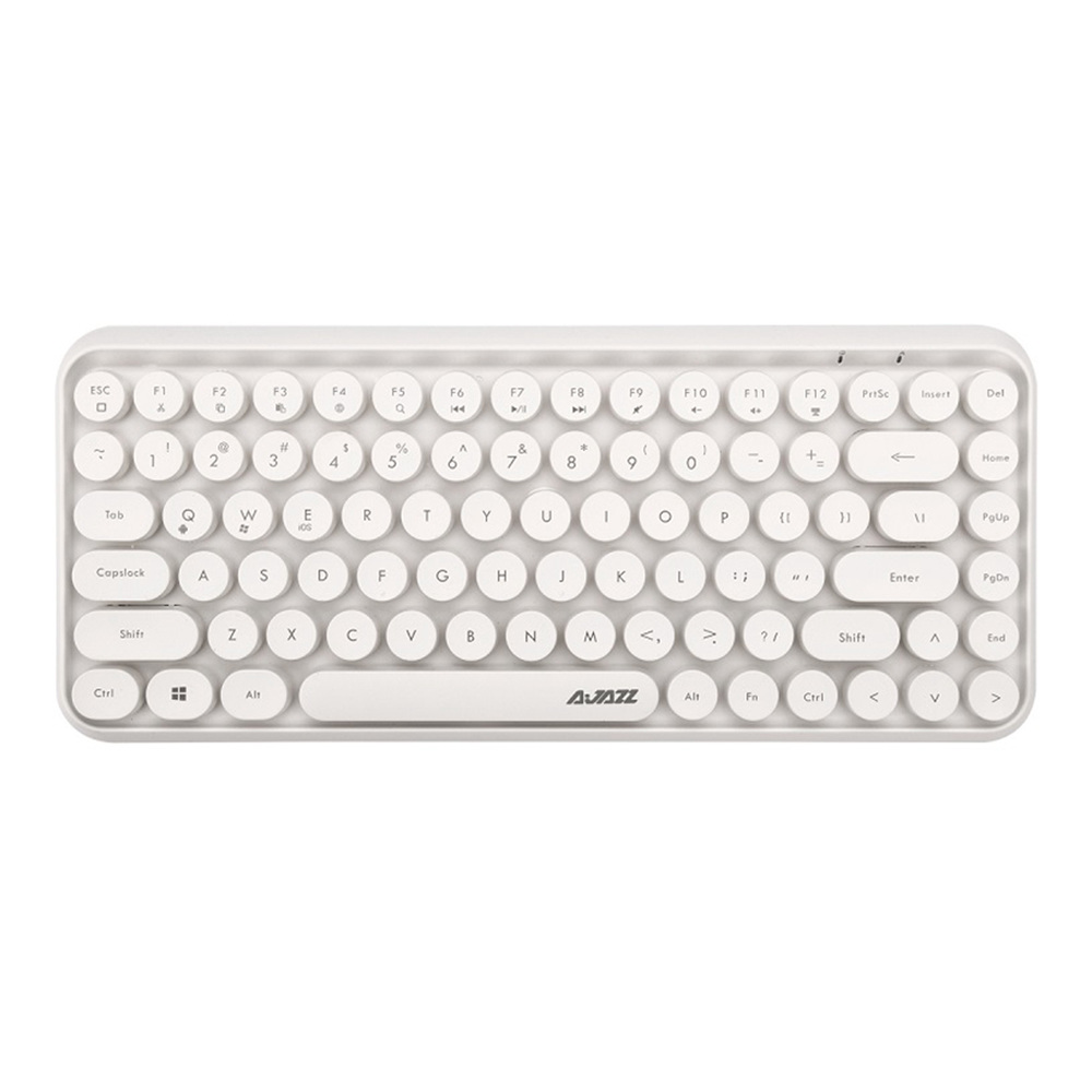Ajazz 308i Bluetooth 3.0 Clavier sans fil 84 Classic Clés rondes prend en charge Windows / iOS / Android et d'autres systèmes communs - Blanc