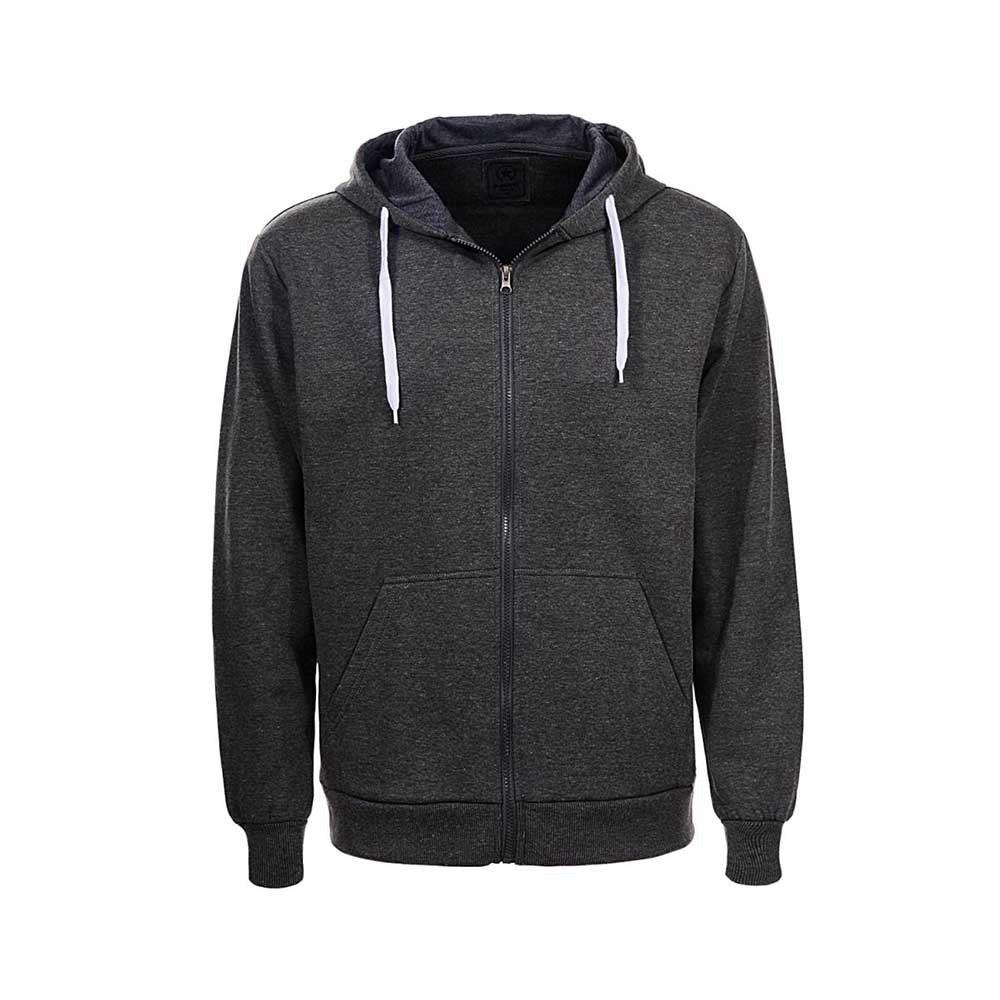 Men Casual Solid Color Long Sleeve Sweatshirt Zipper Hoodie Coat Size 3XL - Dark Gray