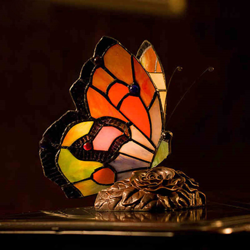 FUMAT TIFFANY Lamp European Classic Stained Glass Butterfly Rose Table Light Glass for Home Decor Office Bedside - US Plug фото