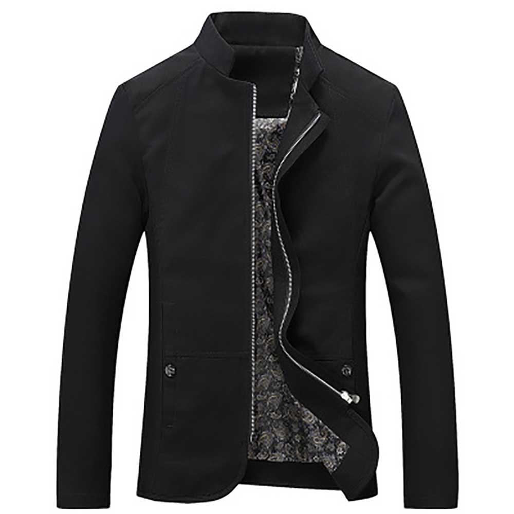 Men's Autumn Long Sleeve Business Casual Button Up Shirt (Slim Fit 100% Cotton Size XL) - Black