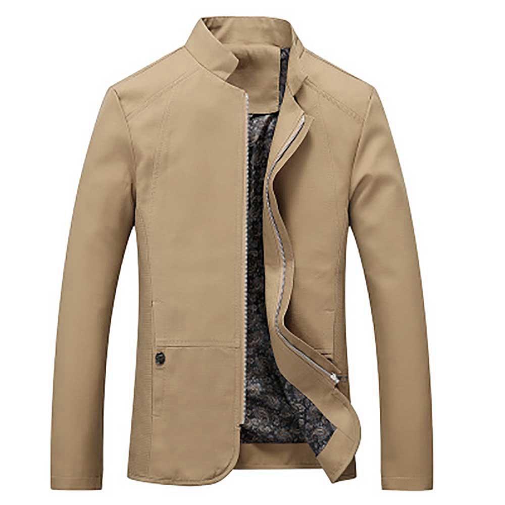 Camicia casual button-up da uomo a maniche lunghe autunno (slim fit 100% cotone taglia XL) - kaki