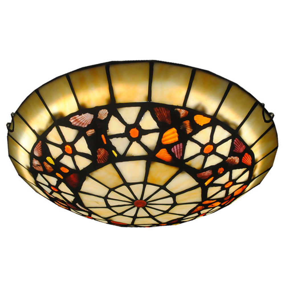 Stained Gl Drum Shape Ceiling Light