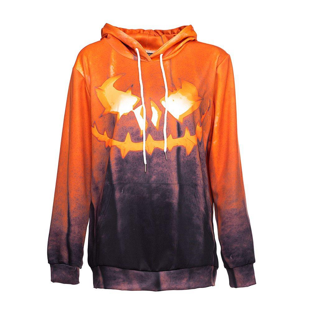 3D ชุดฮาโลวีนพิมพ์ฮาโลวีนชุดฟักทองหน้ากว้าง Unisex เสื้อโปโลแขนยาวปัก L - สีส้ม