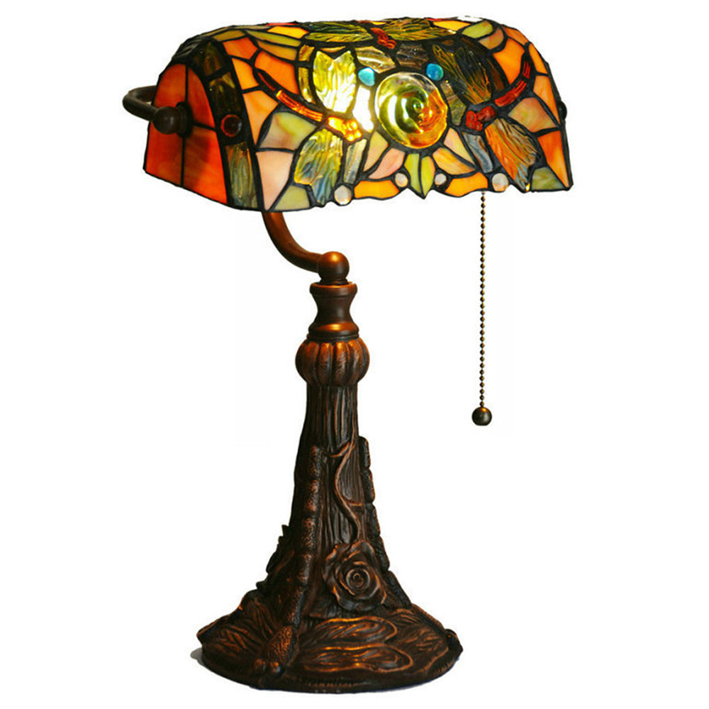 Lampada da tavolo in vetro tinto FUMAT Tiffany Style - Romantic Lightfly Rose Bank Light Design