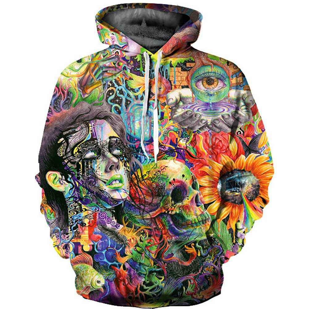 Unisex 3D Digital Couples Autumn Winter Coloured Skull Printed Loose Hooded Pullover Sweatshirt Size XL - Multi