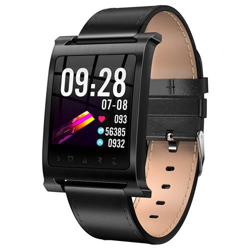 K6 Sports Smart Watch 1.3 Inch IPS Screen Heart Rate / Blood Pressure Monitor IP68 Waterproof - Black Case + Leather Strap