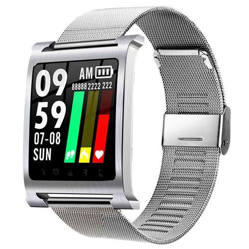 ساعة ذكية K6 الرياضة الذكية ووتش 1.3 بوصة IPS معدل ضربات القلب / مراقبة ضغط الدم IP68 ماء - حالة فضية + حزام من الفولاذ