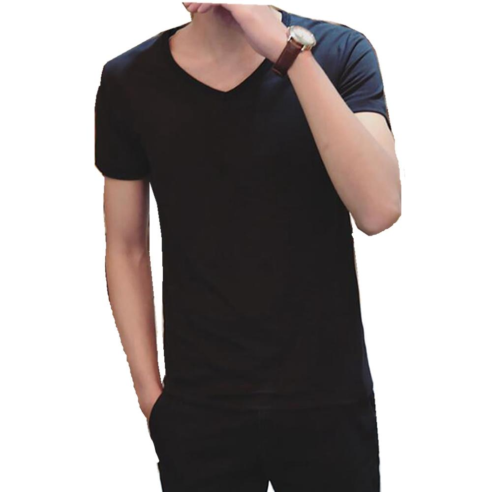 Men's Basic V-neck Short Sleeve T-shirt (Personality Tee Cultivating Size 2XL) - Black
