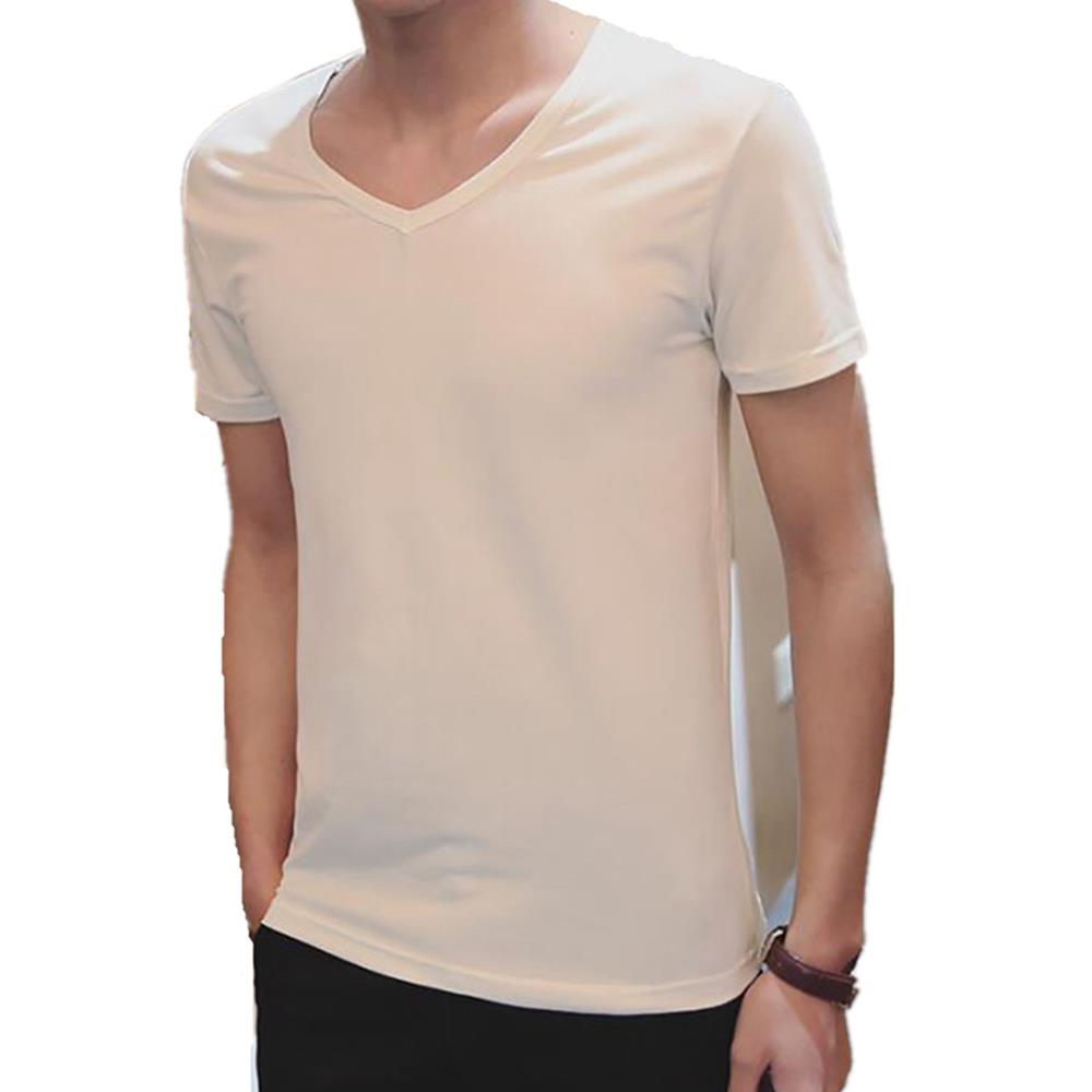 Men's Basic V-neck Short Sleeve T-shirt (Personality Tee Cultivating Size L) - White