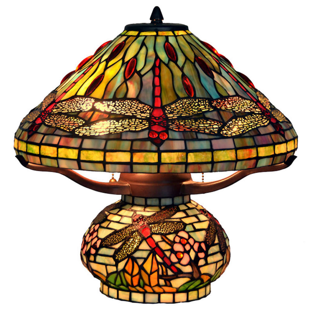 FUMAT 16 Inches Tiffany Style Stained Glass Double Lit Table Lamp - Color Glass Base Dragonfly Design