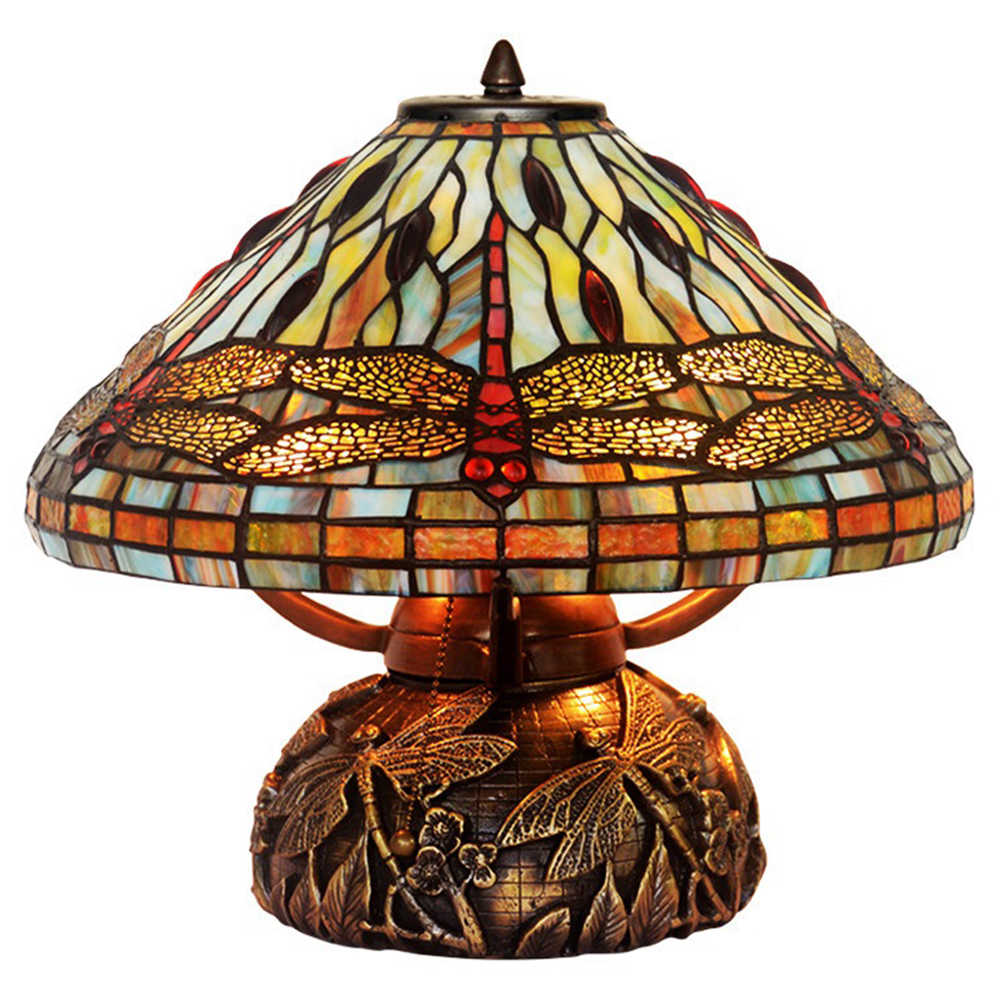 Fumat 16 Inches Copper Base Dragonfly Double Lit Table Lamp