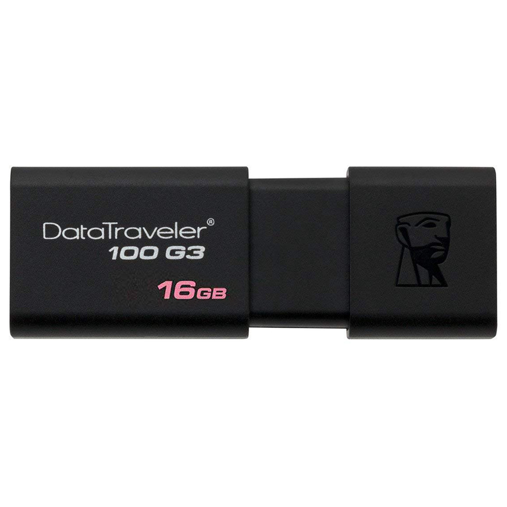 Kingston DT100G3 Digital 16GB DataTraveler Flash Drive USB 3.0 100MB/s Read Speed Sliding Cap Design - Black