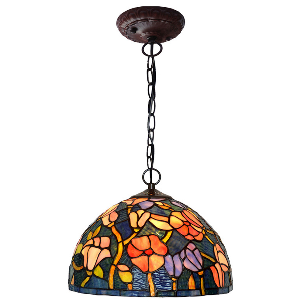 FUMAT 12 Inches تيفاني نمط الزجاج المعشق يدويا قلادة الخفيفة - رومانسي روز حديقة التصميم