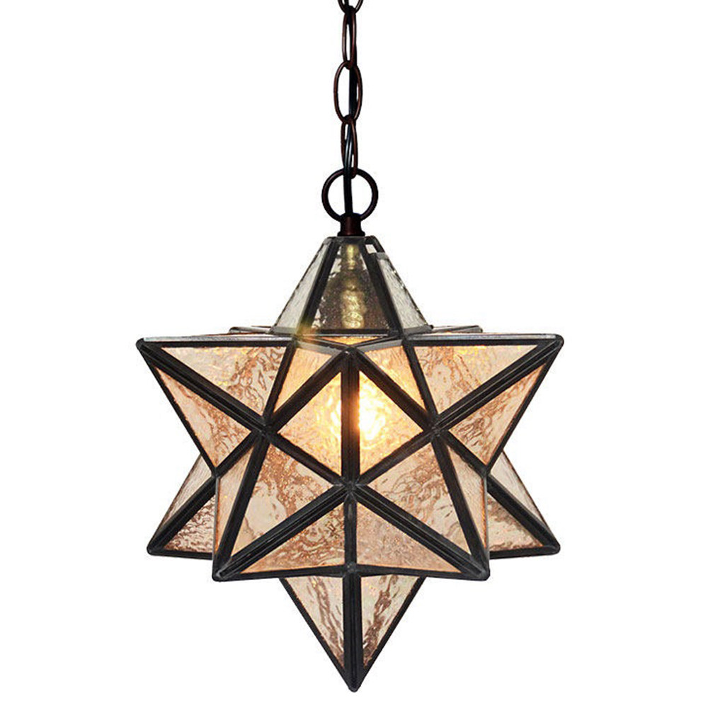 FUMAT 12 Inches Tiffany Style Stained Glass Handcrafted Pendant Light - Water Wave Glass Star Design