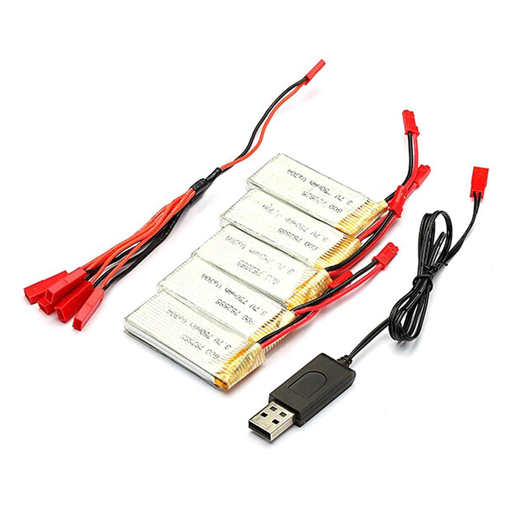 5 x 750mAh batterie et USB câble de charge pour JJRC H12C-5 H12W JXD 509G 509V RC Quadcopter