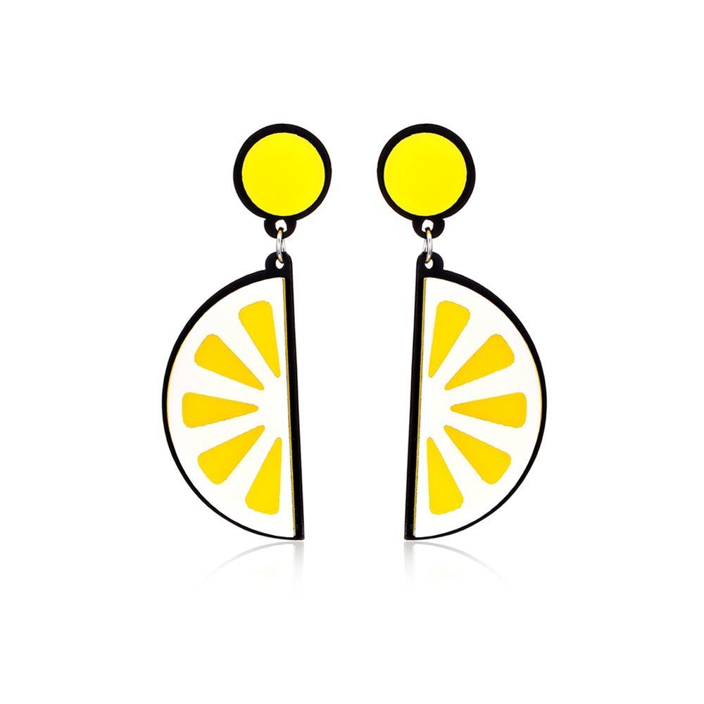 61179318 Мода Личность Преувеличенная Личность Лимон Фрукты Оранжевые Серьги - Желтый