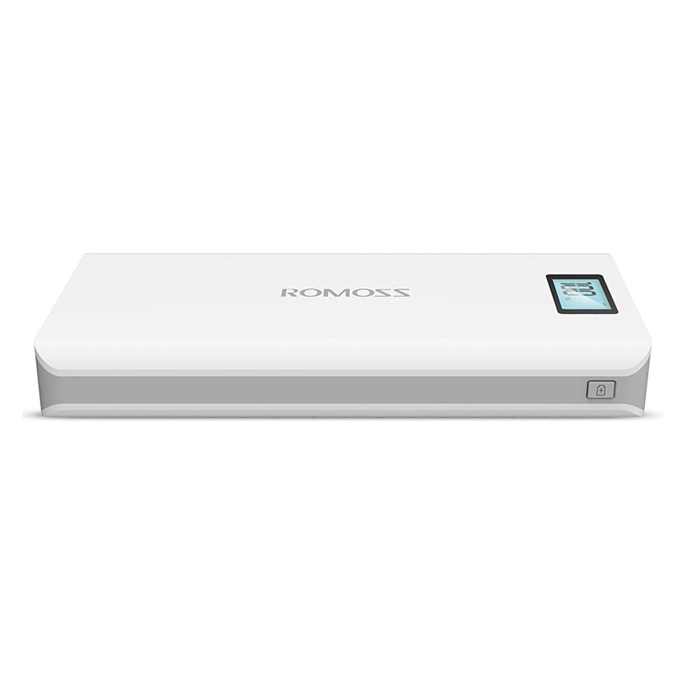 Cargador de energía móvil original con batería digital SOSXXXX Plus USB 6mAh de ROMOSS con pantalla digital - Blanco