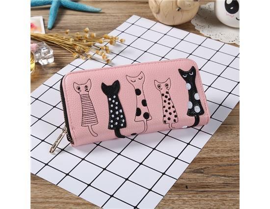 VT0164B กระเป๋าสตางค์กระเป๋าถือผู้หญิงแมวน่ารักการ์ตูนกระเป๋าสตางค์หนัง - ชมพู