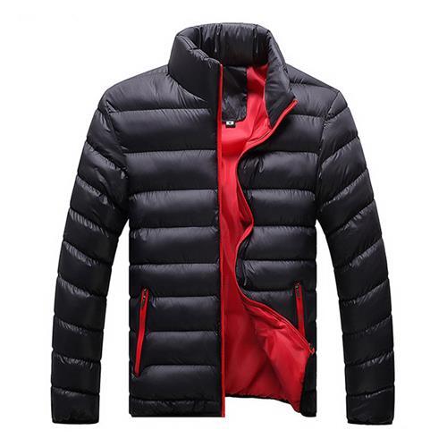 سترة الخريف والشتاء للرجال أسفل معطف من القطن (الحجم 4XL) - أسود + أحمر