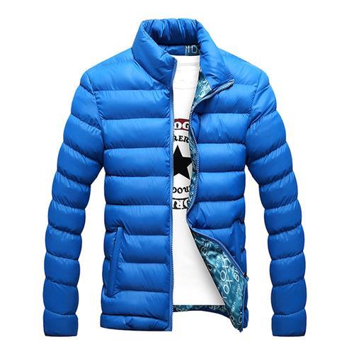 معطف الخريف والشتاء للرجال أسفل معطف من القطن (الحجم L) - أزرق فاتح