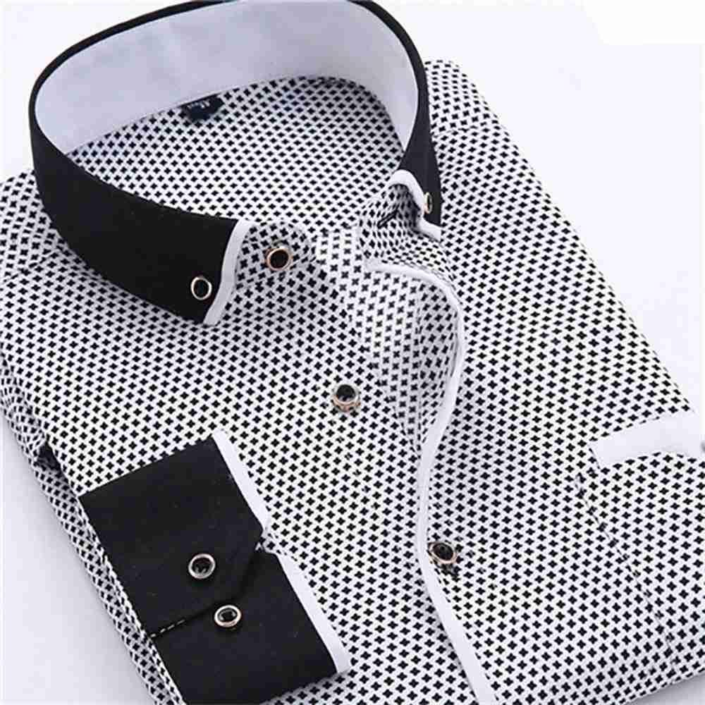 Men's Autumn Business Wave Point Printed Stand Collar Shirt (Slim Fit Cotton Size M) - Dark Gray