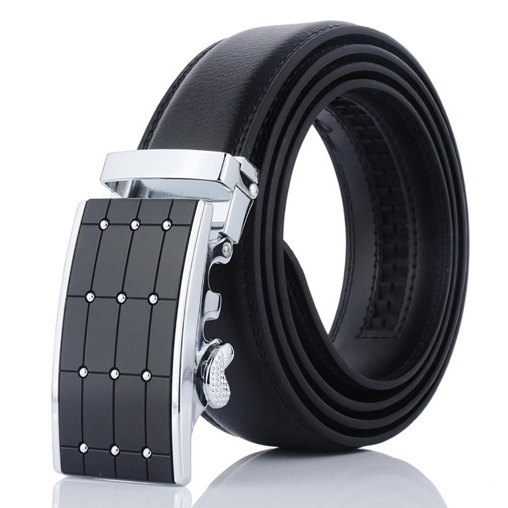 ZD39 Men Automatic Buckle Leather Belt - Silver