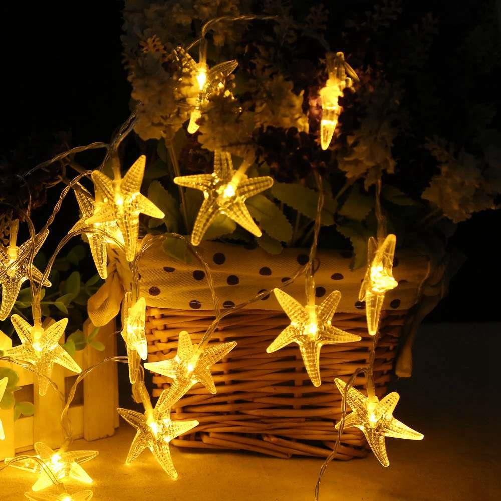 10 LEDs Starfish LED Battery LED String Lights Holiday Christmas Party Garden Decoration Lights (1.2 Meters) - Warm White