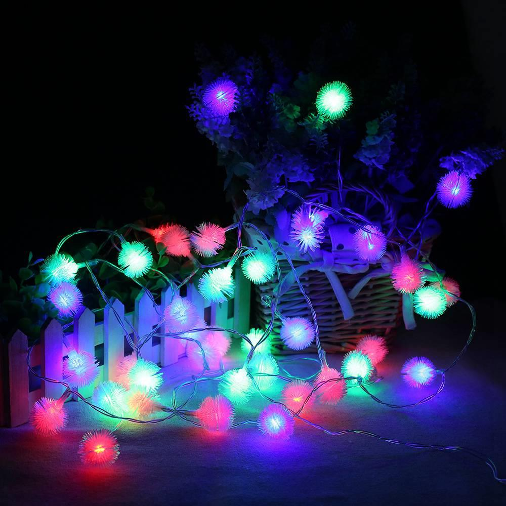 20PCS Fluffy Ball LED Battery LED String Lights Holiday Christmas Party Garden Decoration Lights (2.2 Meters) - Multi-color