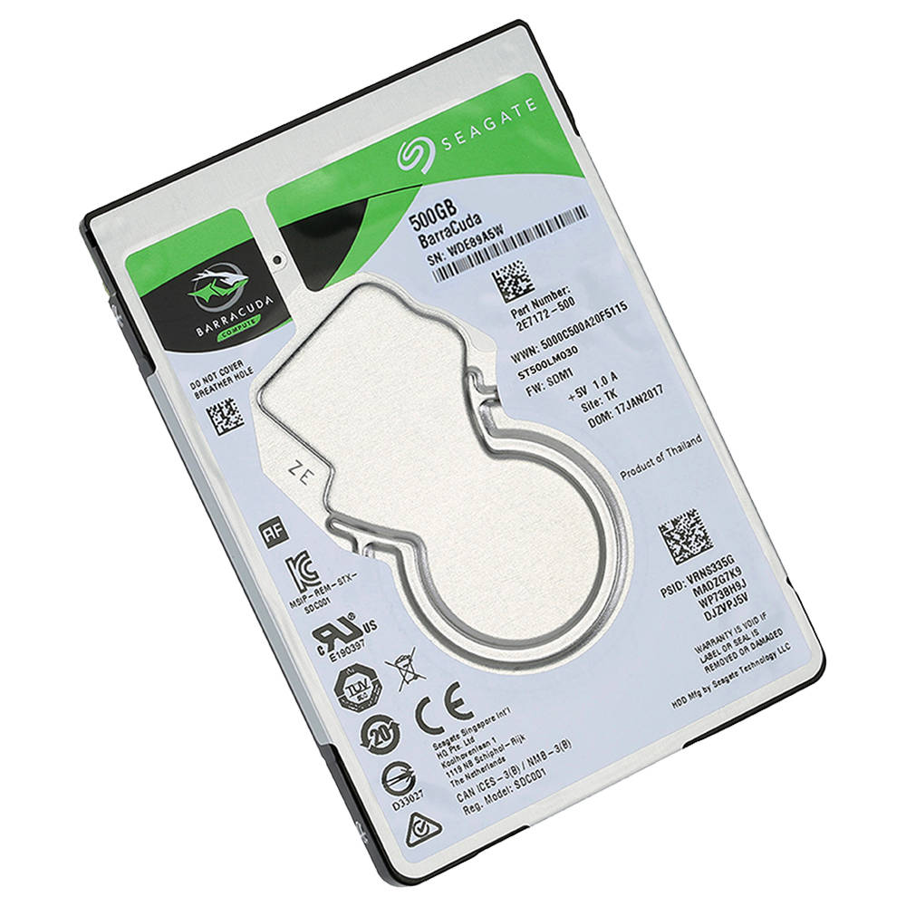 Seagate ST500LM030 500GB Notebook Disco rigido interno 2.5 pollici 7mm 5400RPM SATA 6Gb / s Interfaccia 128MB Memoria cache - Argento