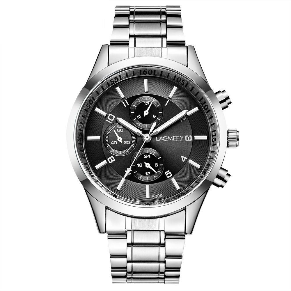 LAGMEEY W5308 Men's Casual Business Analog Wrist Watche Quartz Movement Stainless Steel - White Strap + Black Dial