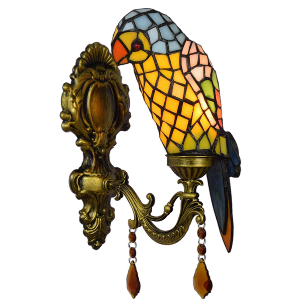 FUMAT Tiffany Style Stained Glass Handgemaakte wandlamp - Creative Green Parrot Design