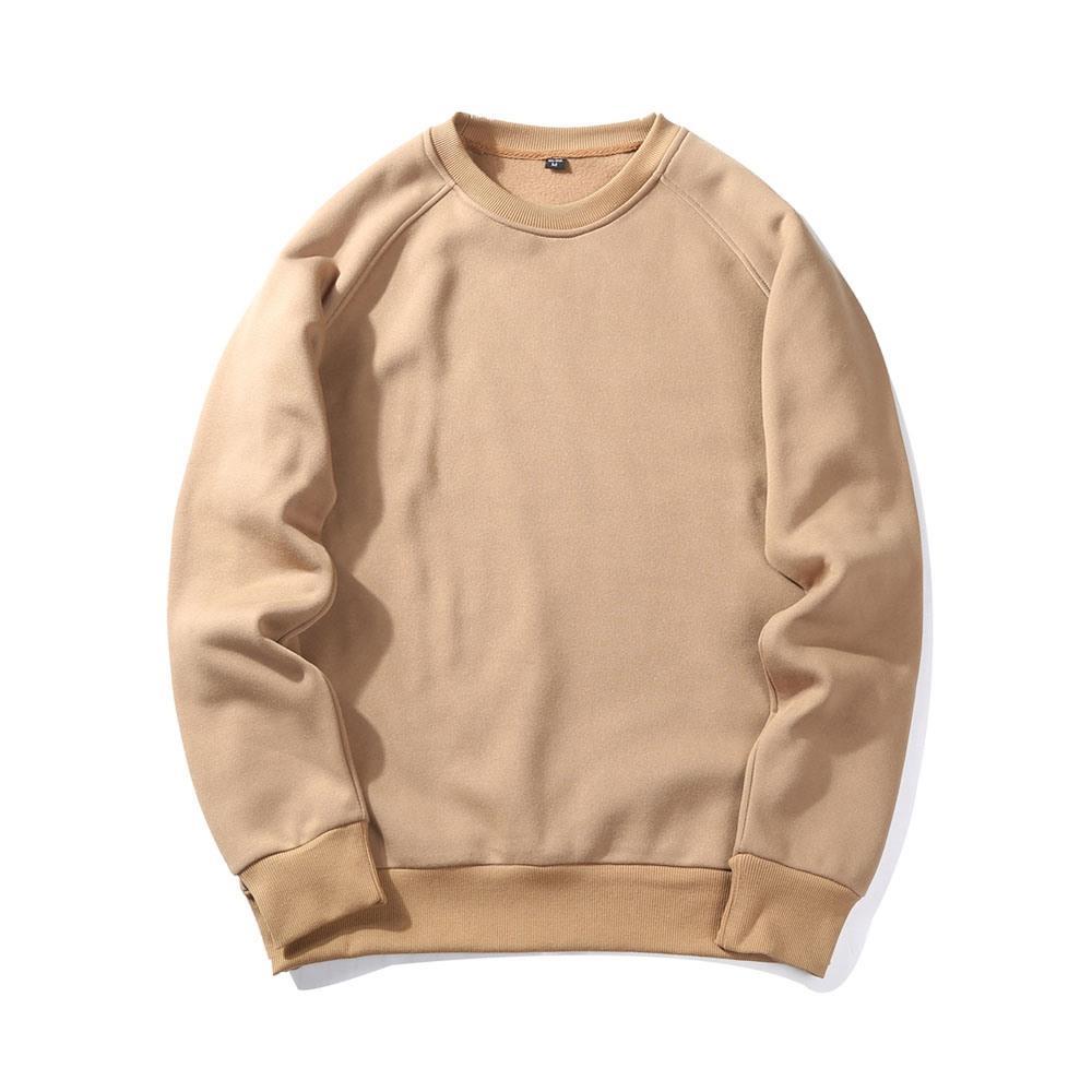 WY19 Felpa girocollo casual basic autunno da uomo (T shirt pullover in cotone tinta unita taglia L) - Cachi
